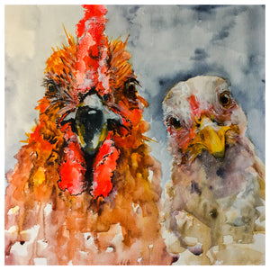 "Dexter & Diane - The Hen and The Rooster Print 11"" x 14"""