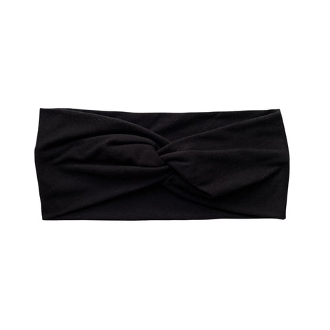 Solid Black semi-matte faux knot headband