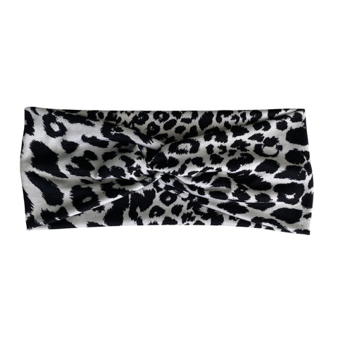 Snow Leopard. Black on white Faux knot headband
