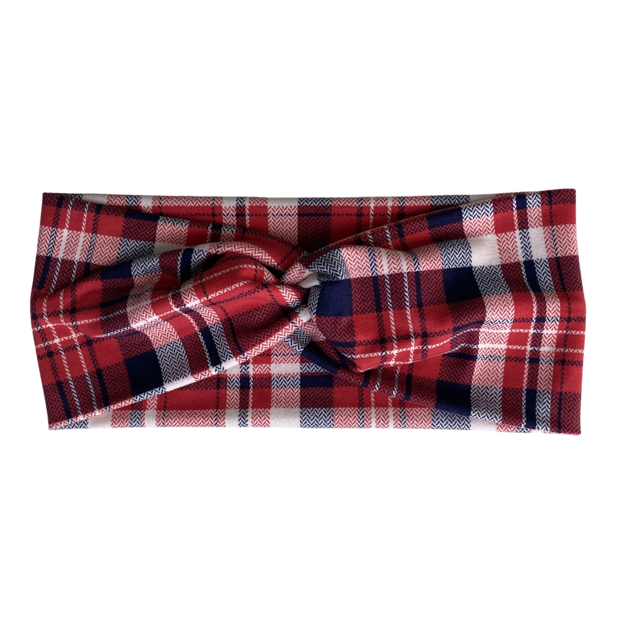 Red and Blue plaid faux knot headband