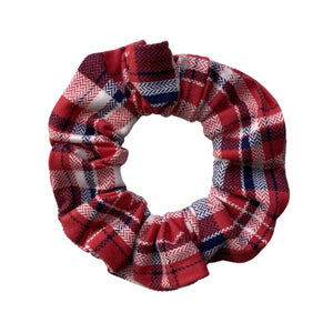 Red and blue plaid semi matte scrunchie