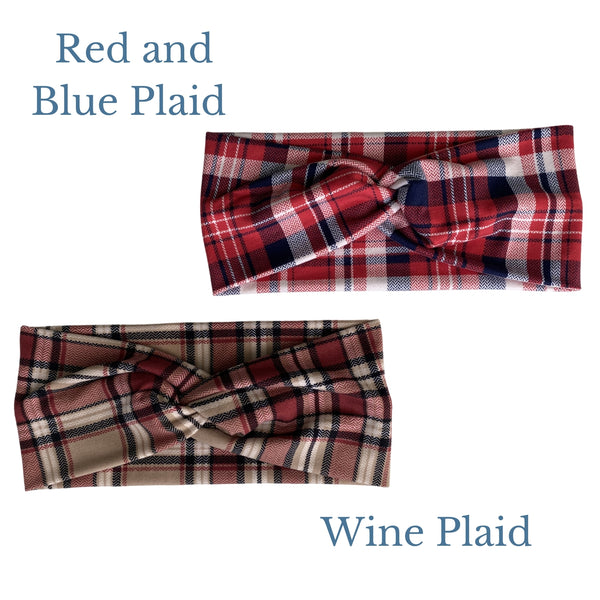 Red and Blue plaid with burgundy, black, and tan faux knot headband comparison