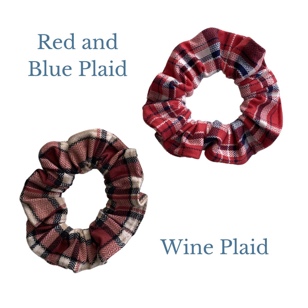 red, blue plaid and burgundy, black, tan plaid semi matte scrunchie comparison