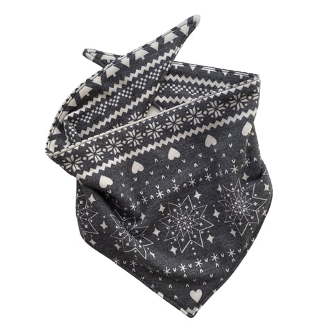 Snowflakes and trees on soft black scARF bandana