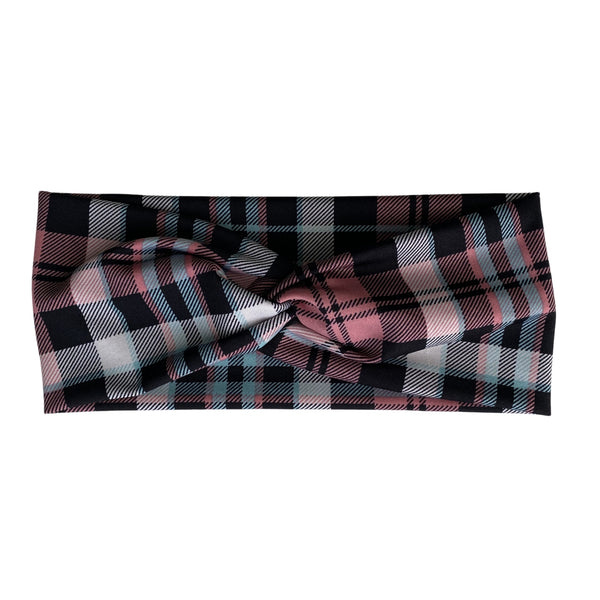 Aqua, Pink, and Black Plaid semi-shiny Faux Knot Headband