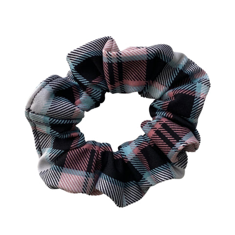 Aqua, pink, black plaid, semi shiny, scrunchie