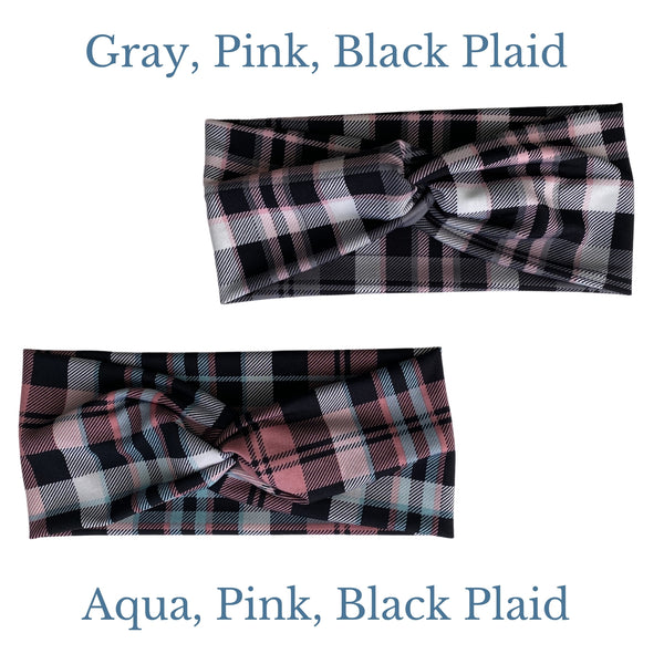 Gray, Pink, Black Plaid and Aqua, Pink, Black Plaid semi shiny, faux knot headband comparison