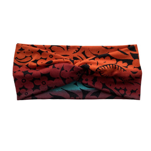 Orange red blue purple ombre semi-matte faux knot headband