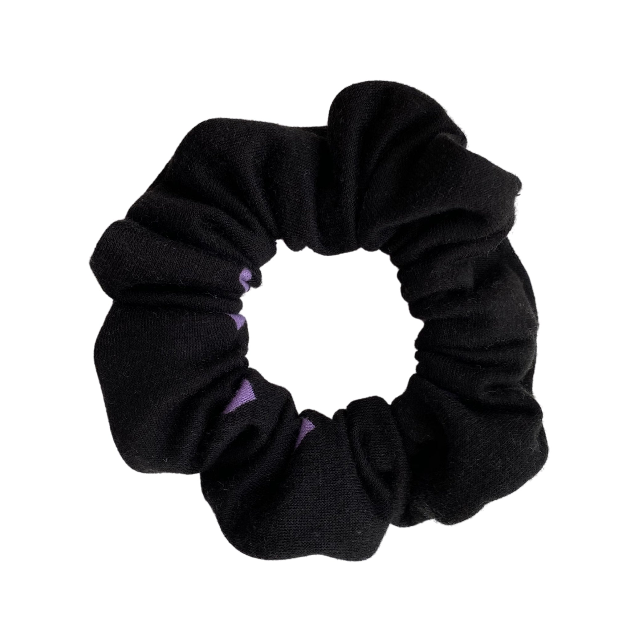 Purple Hearts on black scrunchie