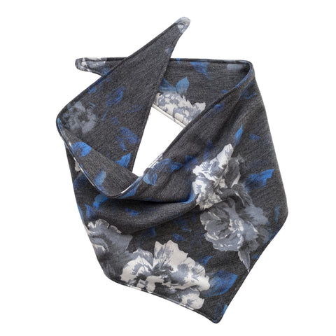 blue, cream and gray floral on soft black scARF bandana