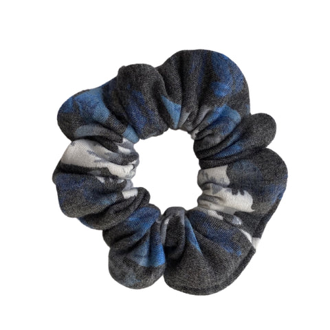 Blue, cream, gray floral on soft black scrunchie
