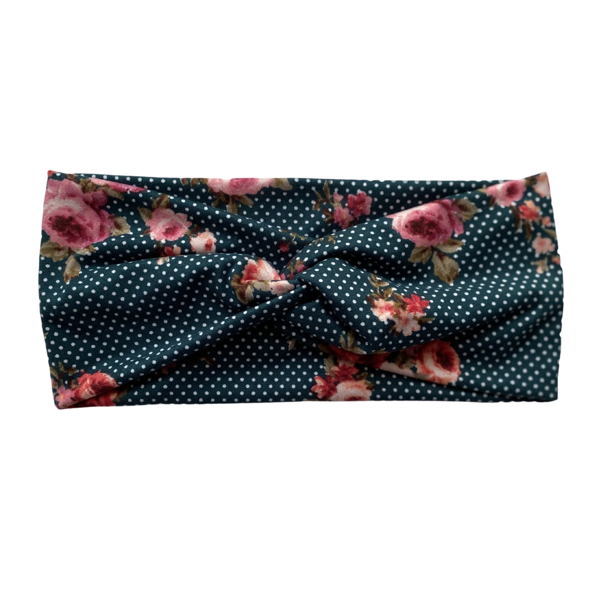 Small white dots and floral on hunter green, semi-matte faux knot headband