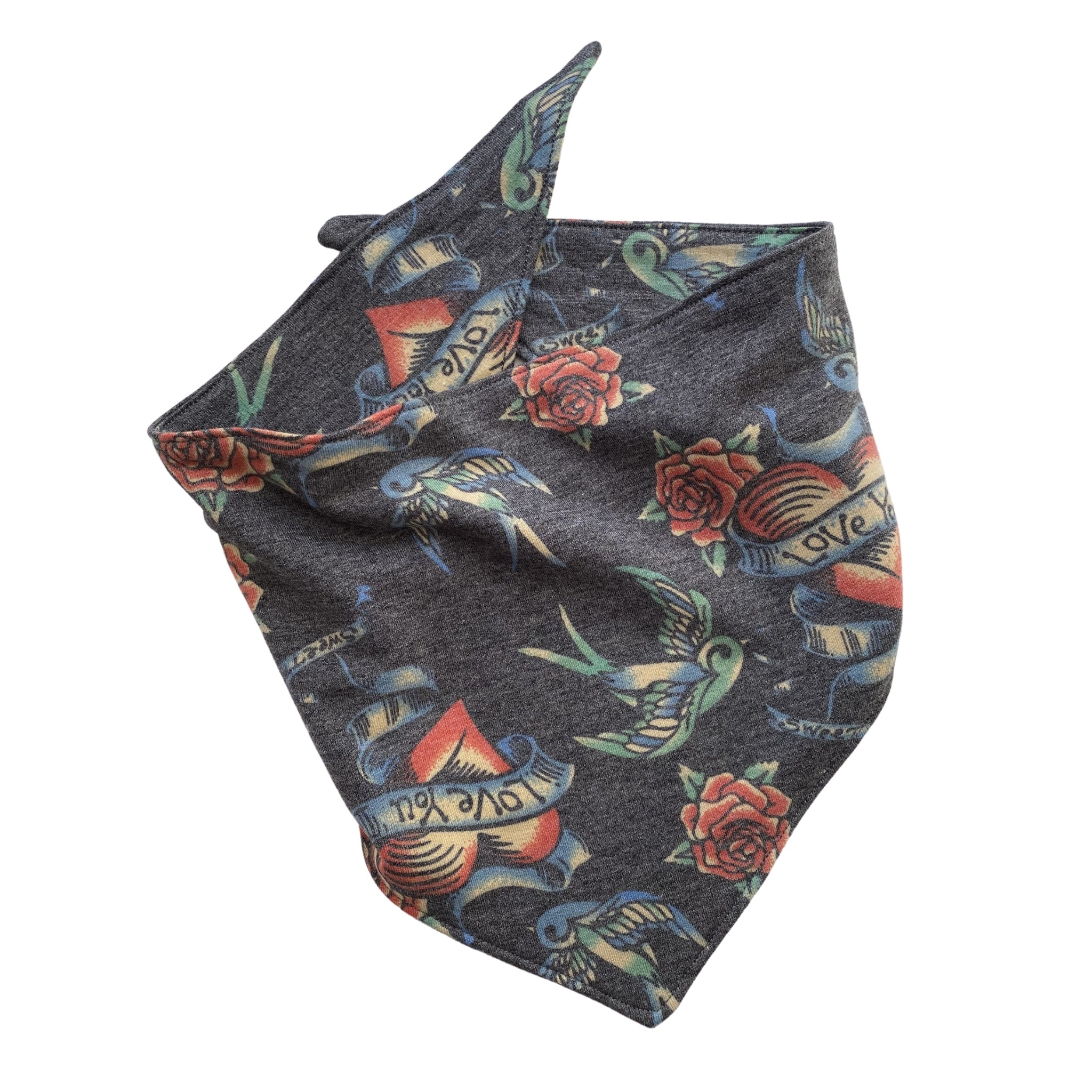 Tattoo love with doves and roses on soft black scARF bandana