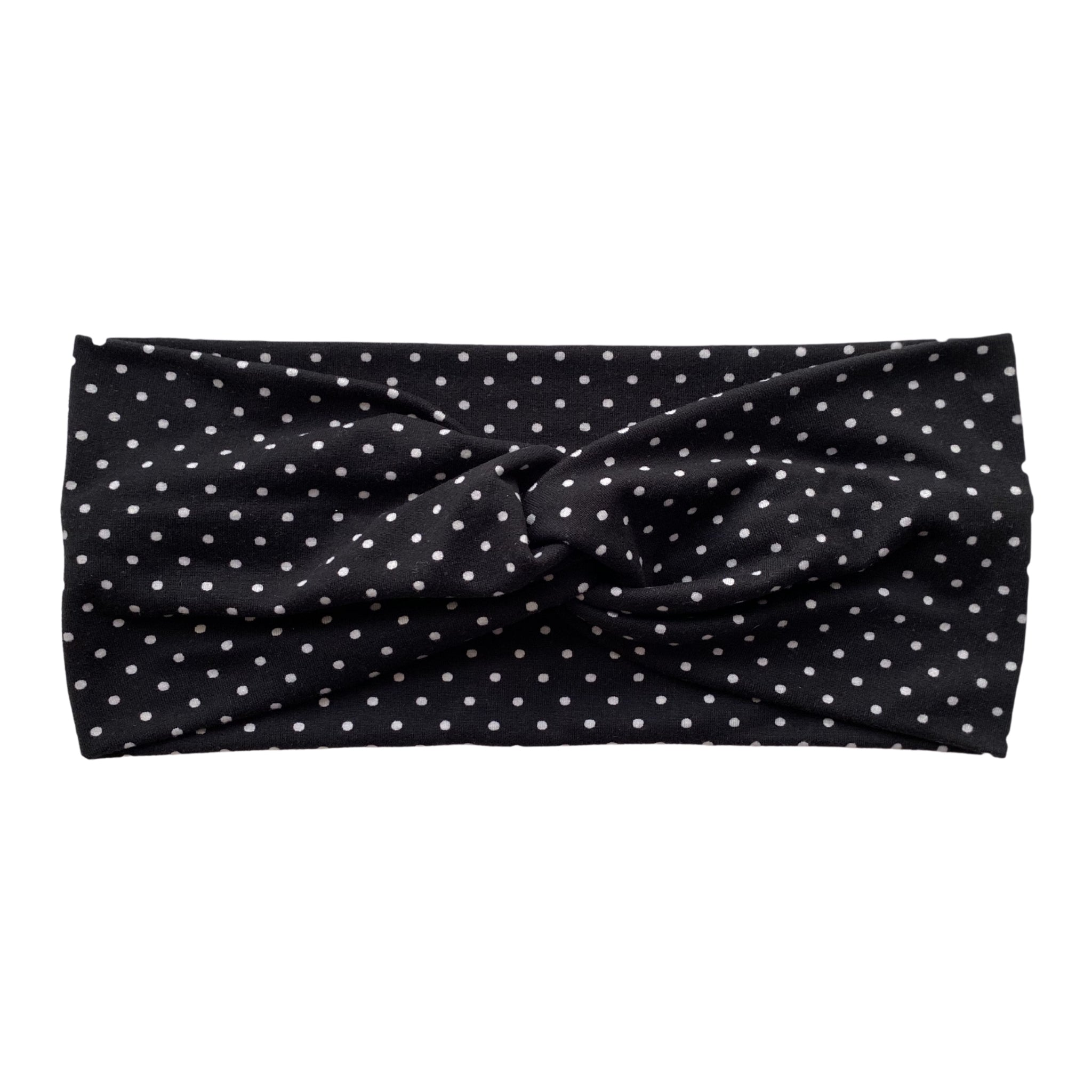 White small polka dots on black faux knot headband