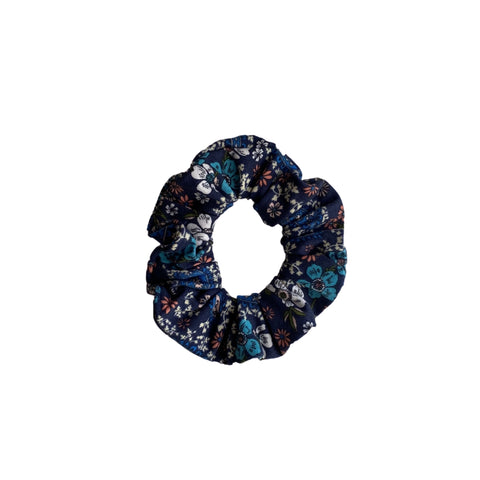 Daisy Paisley on navy semi-matte scrunchie