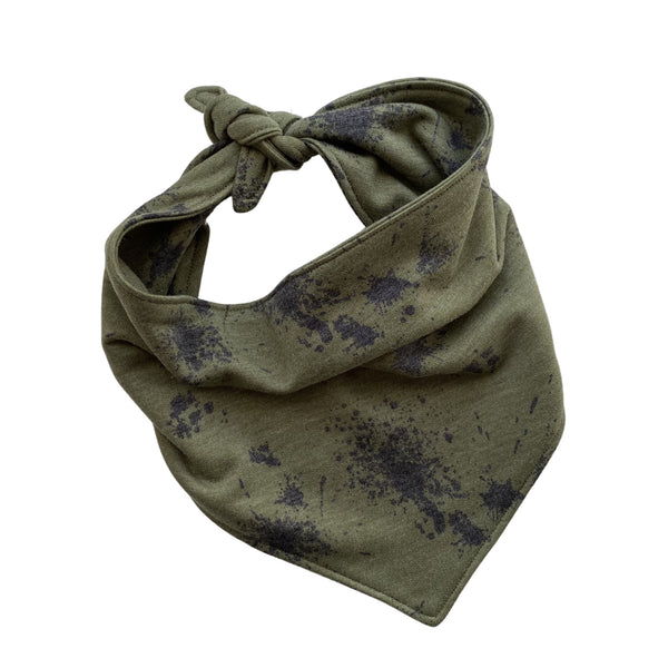 soft black splatter on green scARF dog bandana tied