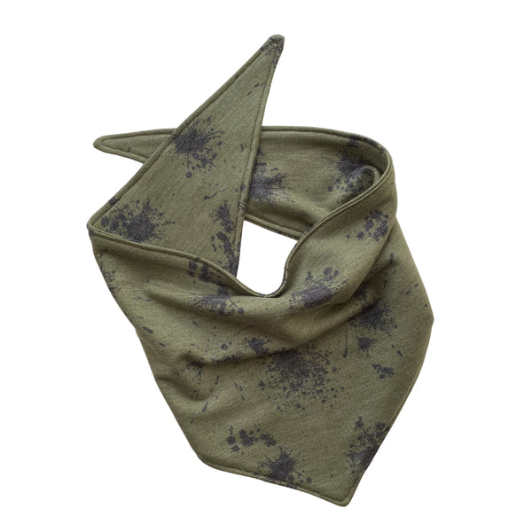 soft black splatter on green scARF dog bandana