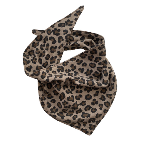 small leopard on taupe scARF dog  bandana