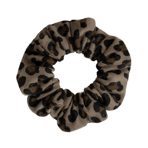 Small leopard on taupe scrunchie