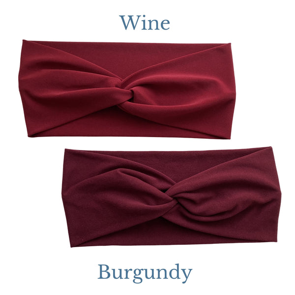 Solid Wine semi-shiny and solid burgundy semi-matte faux knot headband