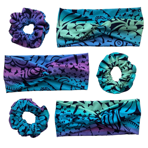 aurora ombre faux knot headbands with scrunchies matte Pipevine Designs