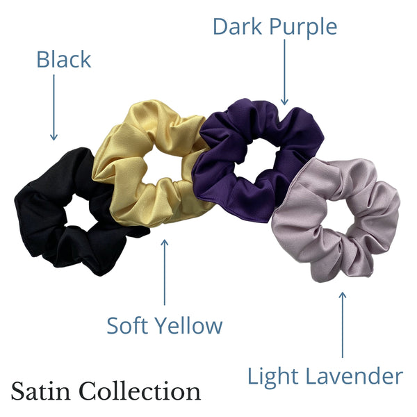 solid black, light soft yellow, dark purple, light lavender satin scrunchies all together