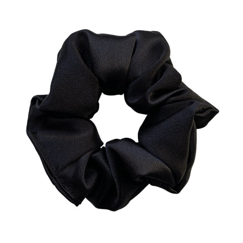 solid black satin scrunchie