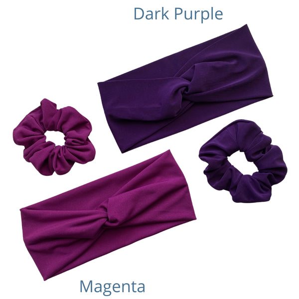 magenta ice scrunchie and matching magenta ice faux knot headband together with a dark purple ice scrunchie and matching dark purple ice faux knot headband pipevine designs