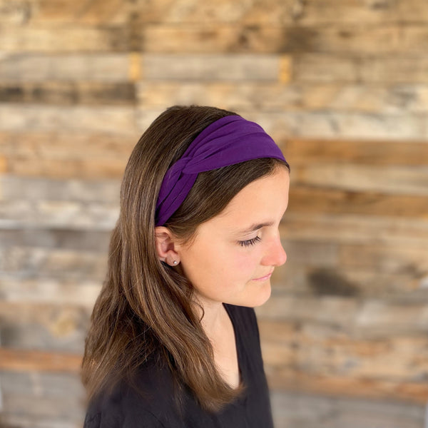 dark purple ice faux knot headband on hair Pipevine Designs