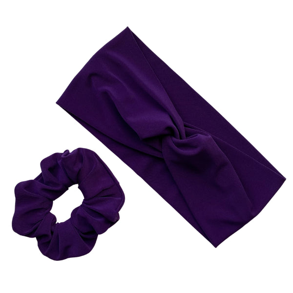 dark purple ice scrunchie with matching dark purple ice faux knot headband Pipevine Designs