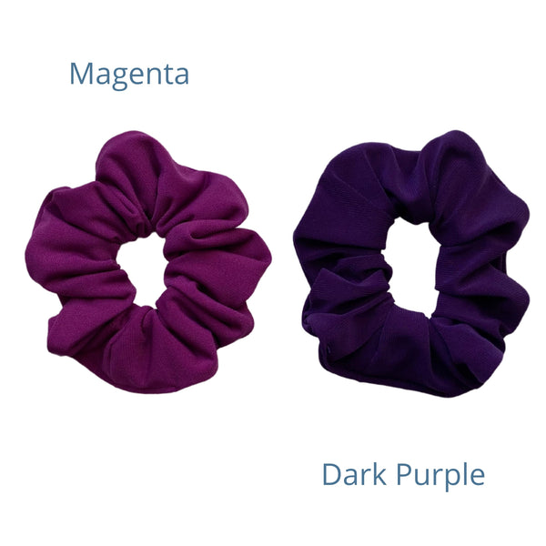 magenta ice scrunchie with a dark purple ice scrunchie Pipevine Designs