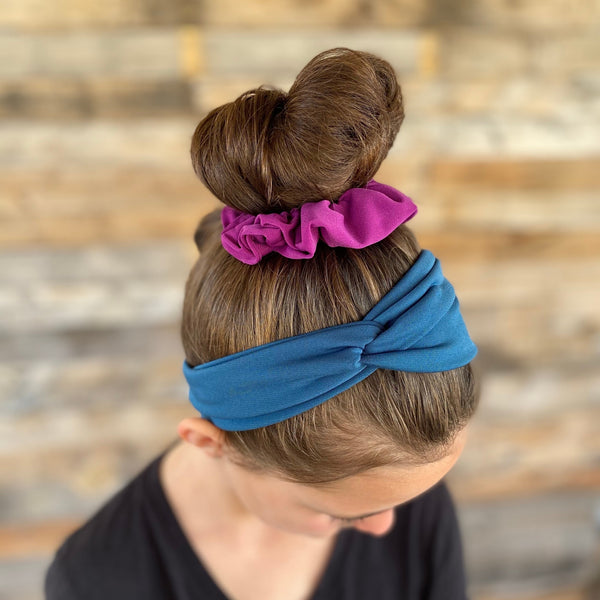 magenta ice scrunchie on bun and teal ice faux knot headband on hair together Pipevine Designs