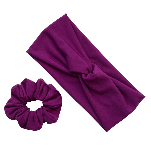 magenta ice scrunchie and matching magenta ice faux knot headband Pipevine Designs