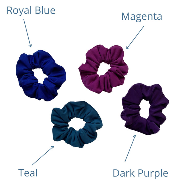 royal blue, teal, magenta, dark purple ice scrunchies together. Pipevine Designs