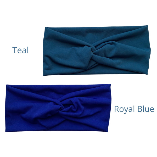 royal blue ice faux knot headband and teal ice faux knot headband. Pipevine Designs