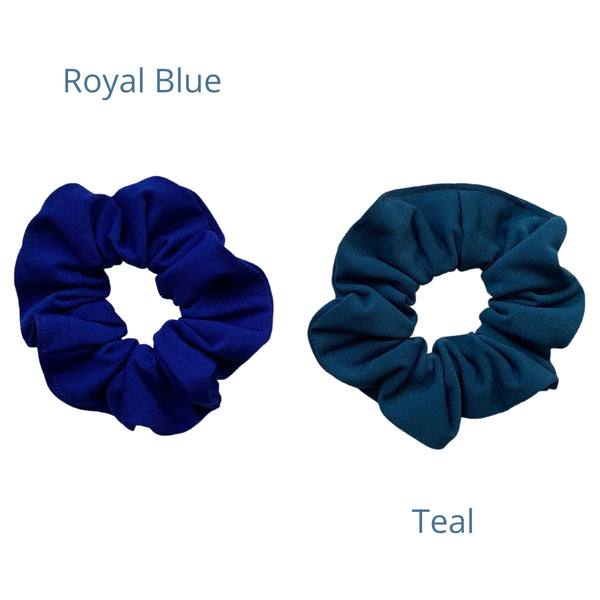 royal blue ice scrunchie with teal ice scrunchie. Pipevine Designs