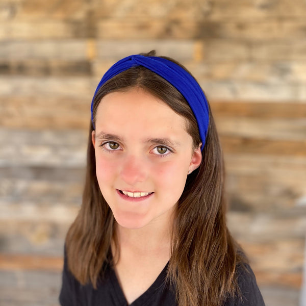 royal blue ice faux knot headband on head Pipevine Designs
