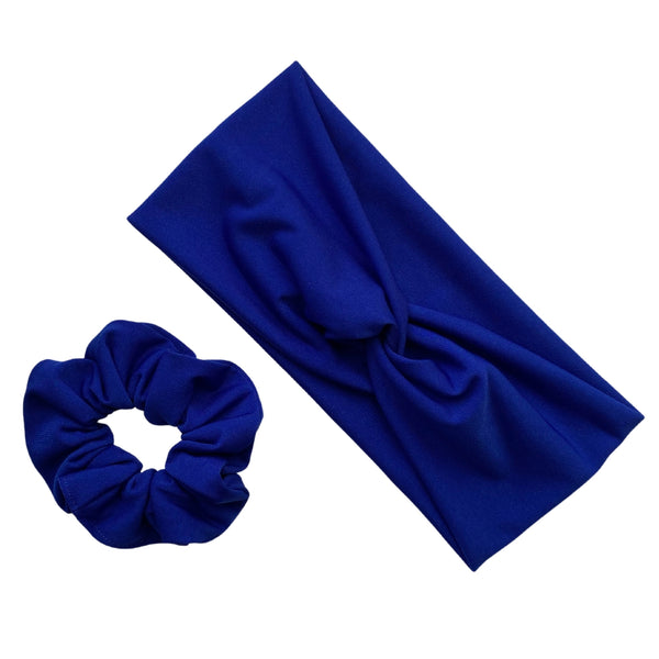 royal blue ice scrunchie with matching royal blue ice faux knot headband. Pipevine Designs