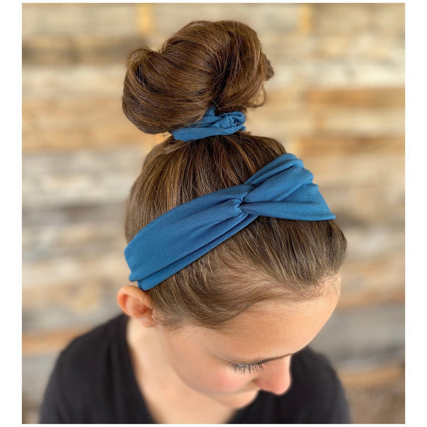 teal ice scrunchie and matching teal ice faux knot headband on hair. Pipevine Designs
