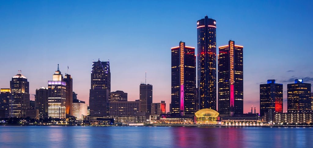 Downtown Detroit Riverfront at Dusk