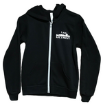 Black long sleeve full-zip with white taped zipper and divided pouch hooded sweatshirt including small white I Am Detroit logo on left chest