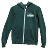 Heather forrest green long sleeve full-zip with white taped zipper and divided pouch hooded sweatshirt including small white I Am Detroit logo on left chest