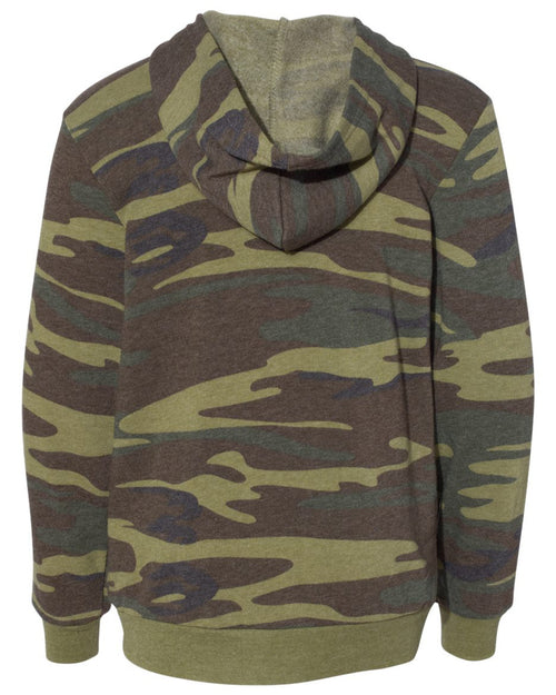 Back view of youth sized camouflage hooded sweatshirt