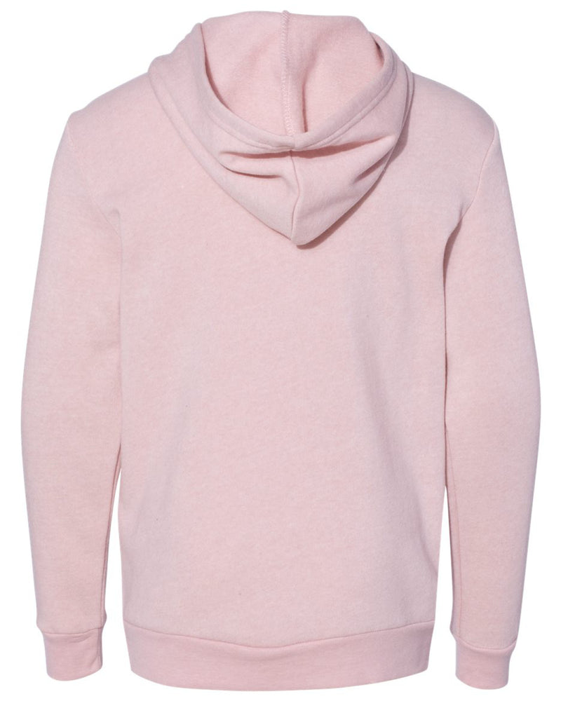 Back view of youth sized rose colored hooded sweatshirt