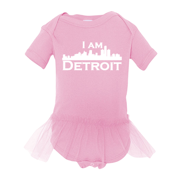 Adorably cute print baby girl onsie with light pink tulle tutu at waist large white I Am Detroit logo printed across the chest