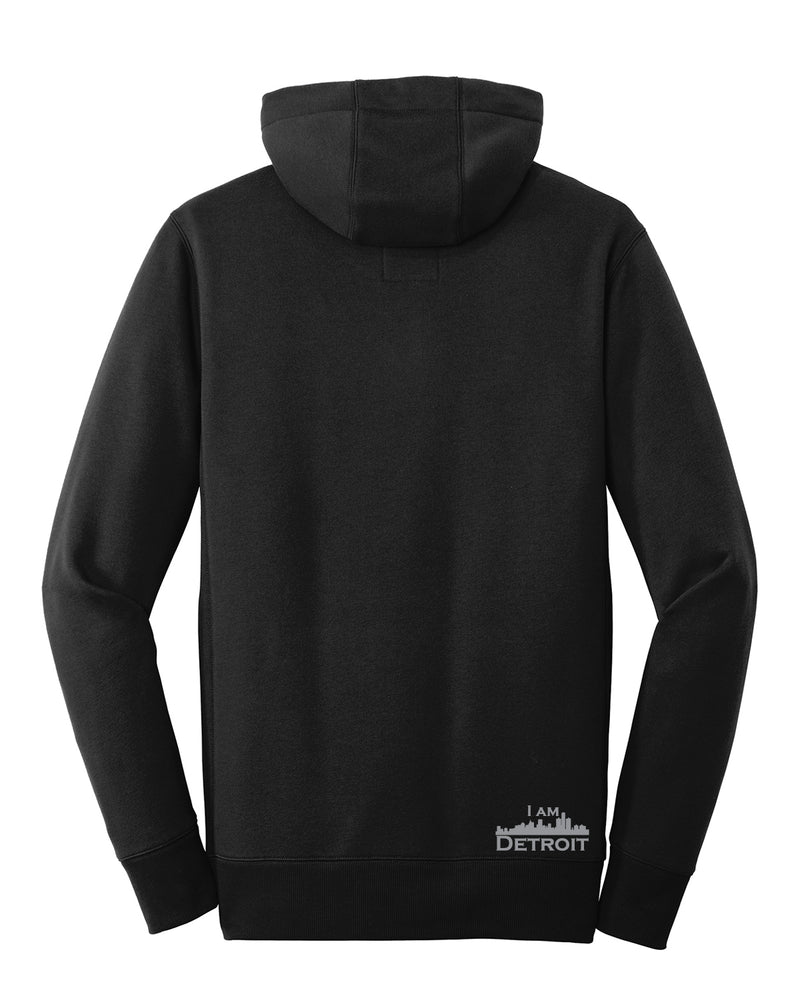 Men's Back facing Black French Terry 3-panel hooded sweatshirt showing small silver I Am Detroit logo near bottom hem on back