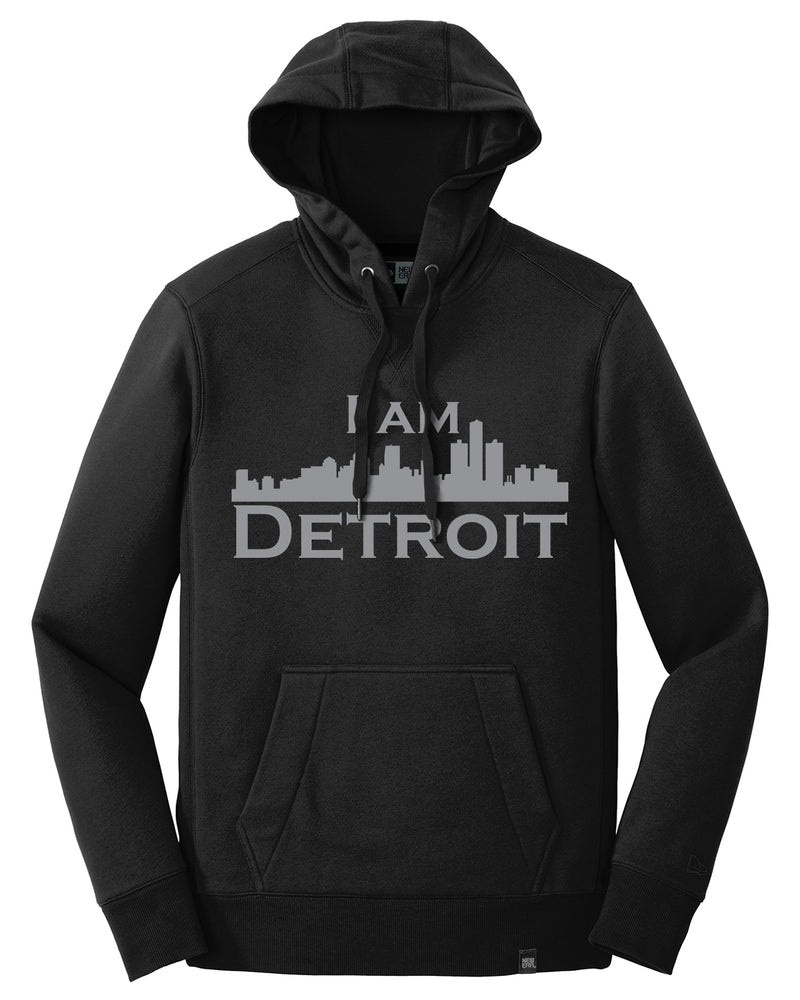 Men's Black French Terry 3-panel hooded sweatshirt with pouch in front, brass grommets, large silver I Am Detroit logo on front chest