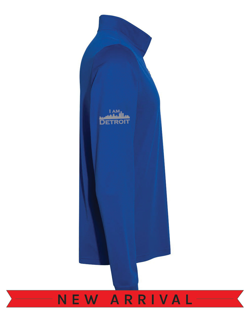 Direct side view of a Collegiate Royal Blue Cool Down Quarter-Zip Adidas long-sleeve pull-over featuring a grey I Am Detroit logo on the right arm