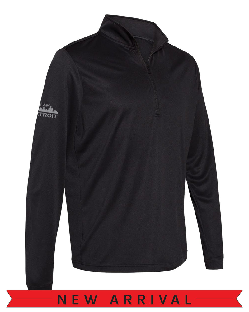 Angled side view of a Black Cool Down Quarter-Zip Adidas long-sleeve pull-over featuring a grey I Am Detroit logo on the right arm