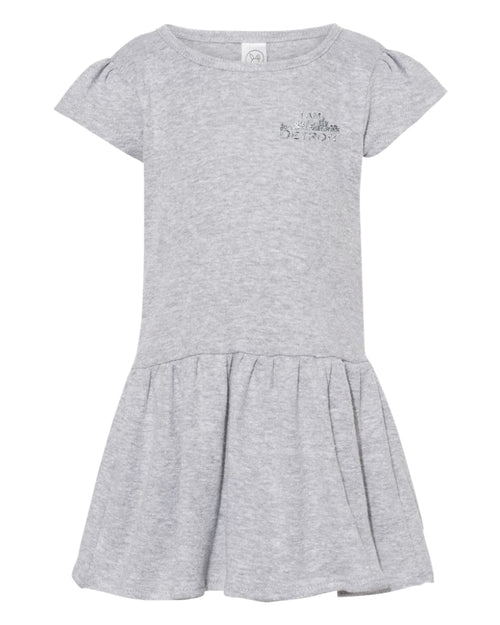 Gray Heather baby dress with small glittered I Am Detroit logo printed on the left chest
